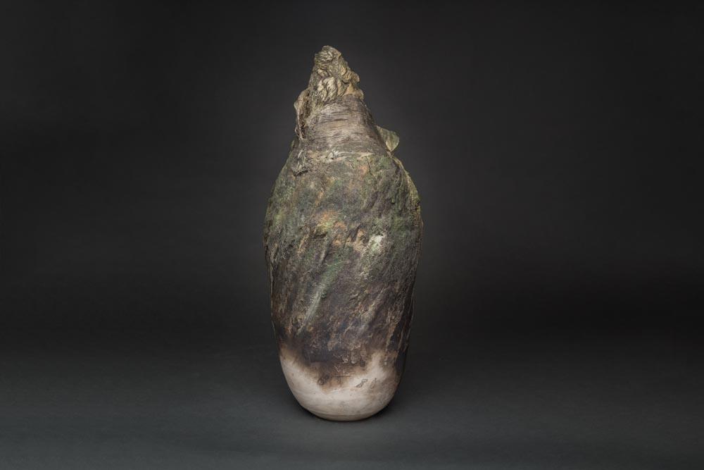 Sculpture céramique ton kaki