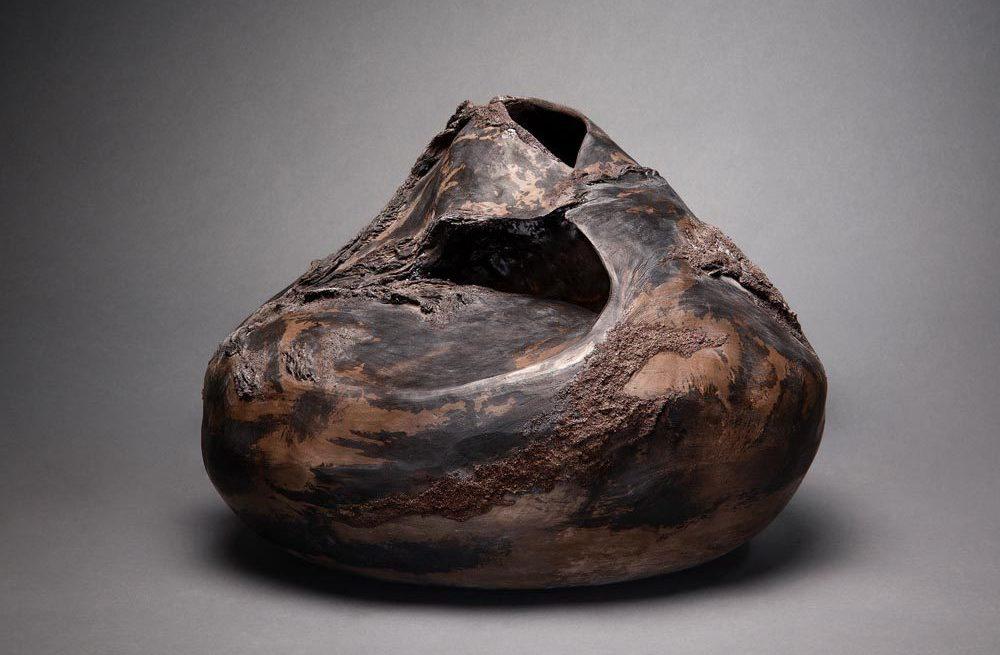 céramique Claire Fréchet, texture de bois fossilisé