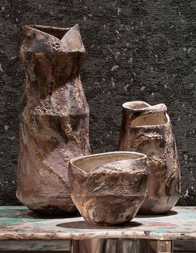 Trois céramiques d'art texture bois