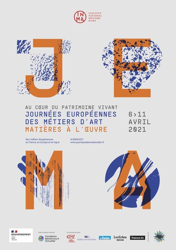 Affiche typographique de la Journée Européene des Métiers d'Art 2021